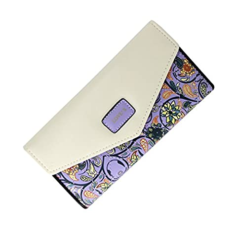 Womens Ladies Purple Leather Wallet Purse Handbag Floral Flap Over with Credit Card Slots, Note Pocket, Bill Pocket and ID window,Gift