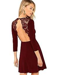 d2e50aeaa950 SOLY HUX Damen Spaghetti-träger Rückenfrei Figurbetont Kleid Ärmlos mit  Reißverschluss Sommerkleid Minikleid Party Kleider