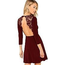 8dcbb27e99e SOLY HUX Damen Spaghetti-träger Rückenfrei Figurbetont Kleid Ärmlos mit  Reißverschluss Sommerkleid Minikleid ...
