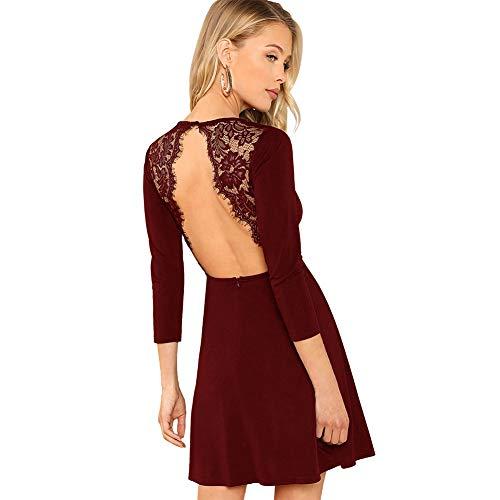 SOLY HUX Damen Spitzen Rückenfrei Kleid A Linie Kleid Langarm Ballonkleid mit Reißverschluss Bordeaux S