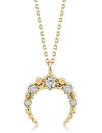 46bb0fd91c9c Collar para mujer de oro amarillo 585 de 14 quilates con colgante de media  luna invertida