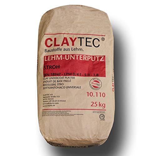 CLAYTEC Lehm-Unterputz mit Stroh Trocken 25 kg Sack