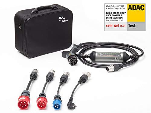 Juice Booster 2 Mobile Ladestation für Elektroauto 22kW / 11kW Wallbox   German Traveller Set   CEE32, CEE16, Camping, Schuko mit Temperaturüberwachung -