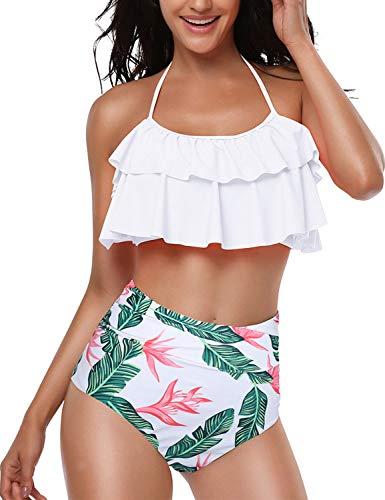 Yuson Girl Femme Vintage Floral Dos Nu Maillot De Bain Taille Haute à Pois Retro Bikini Volant Ensembles 2 Pièces Haut Tankini Rembourré Push Up Grossesse Paisley Triangle Bas