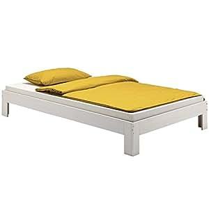 Lit futon lit simple THOMAS 120 x 200 cm pin massif lasuré blanc