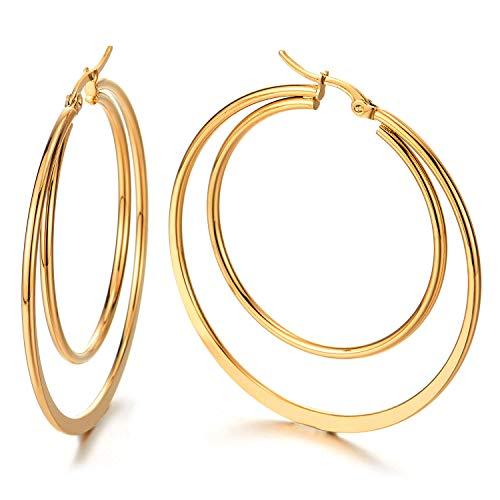Paar Große Doppel Flach Glatte Kreis Creolen für Damen, Edelstahl Huggie Ohrringe Mädchen,Gold (Gold-flache Creolen)