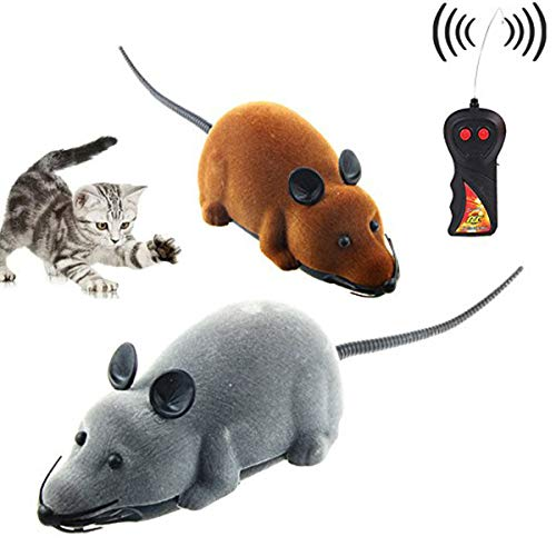 CLCASES Katzenspielzeug, Maus mit Fernbedienung, Rattenspielzeug für Katzen, Hunde, Haustiere, Geschenk (2 Maus und 1 Fernbedienung) -