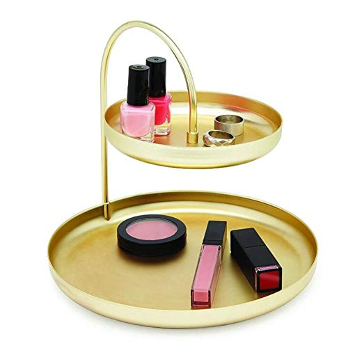 Tablett Veranstalter Metall 2 Tier Runde Lagerung Schmuck Make-up Parfüm Kerze Schlüssel Dekoration Kommode Schlafzimmer (Gold) - Kerze-fach Runde