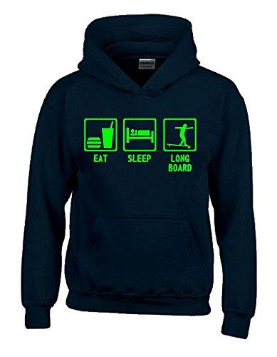 EAT SLEEP LONGBOARD Kinder Sweatshirt mit Kapuze HOODIE schwarz-green, Gr.164cm