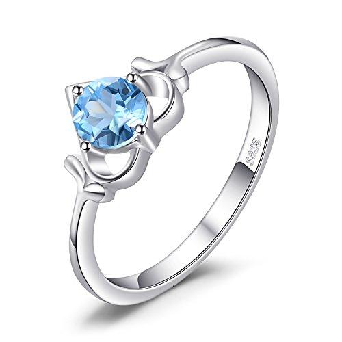 JewelryPalace Anillo Corazón Topacio azul suizo natural