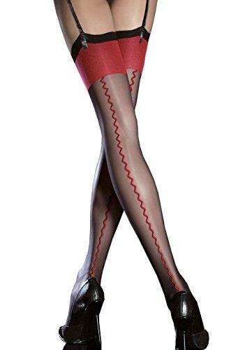 Fiore Anais - Bas nylon voile à couture noir et rouge 20d pour Porte-Jarretelles