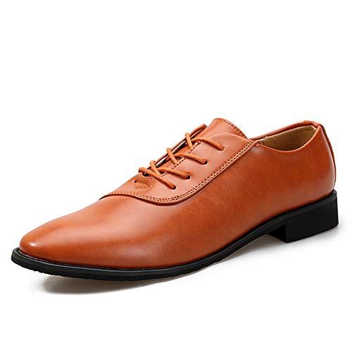 Jingkeke Men's Classic Modern Business-Halbschuhe Spitzen-up-Hochzeitskleid Schuhe auffällig (Color : Braun, Größe : 42 EU) (Braun 13 Größe Mens Kleid-schuhe)