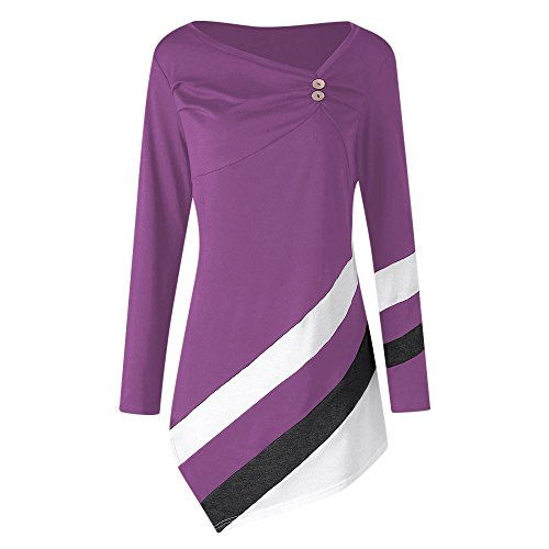 YTJH Damen Langarmshirt Violett