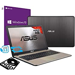 "Notebook Asus Vivobook Portatile Pc Display da 15.6"" Cpu AMD A6 2.60Ghz /Ram 4Gb DDR4 /HD 500GB /Graphics Radeon R4 /Hdmi Masterizzatore Wifi Bluetooth /Windows 10 professional + open office"