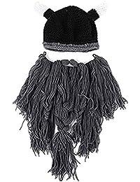 Xuxuou 1 Pieza Gorro de Vikingo con Barbudo y Cuerno Sombrero para Halloween y Bola de Disfraces size 57-60cm (Gris profundo)
