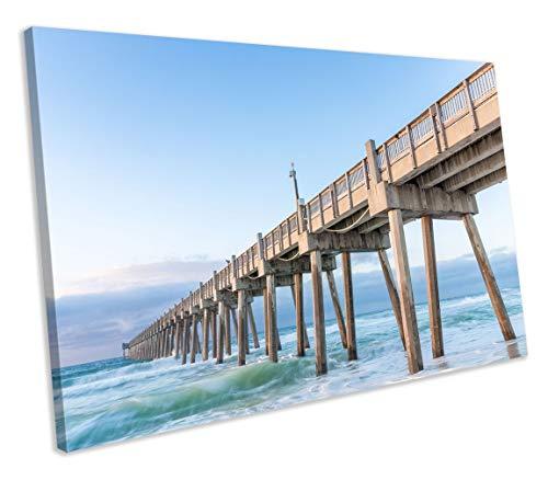 chuanghe3943 Unframe Canvas Printing Florida Beach Pier Ocean Ready to Hang Canvas Print Bedroom Bathroom Decoration Wall Art -