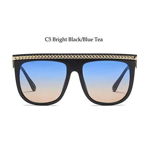 YLNJYJ Goldkette Flat Top Sonnenbrille Damen Modedesigner Übergröße Schwarze Sonnenbrille Lady Celebrity Vintage Square Sonnenbrille Weiblich
