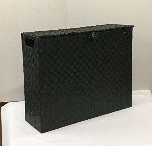 ARPAN Mehrzweck-Rollenhalter, freistehend, Polypropylen, gewebt auf Metallrahmen, ideal als Ergänzung für Badezimmer oder Toiletten, Schwarz, 15 x 49,5 x 39 cm