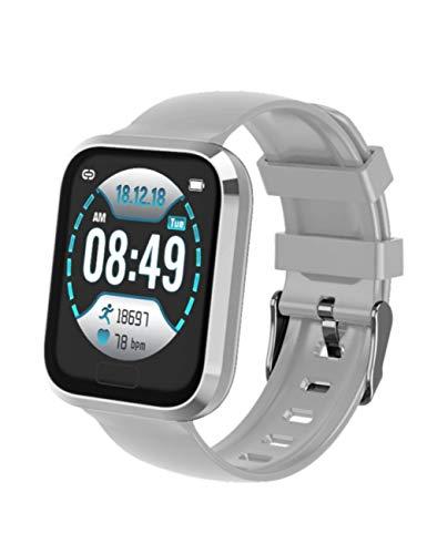 YJKLB Intelligente Uhr Smart Watch Wasserdicht Blutdruck Pulsmesser Fitness Smartwatch Men Health Bracelet Armbanduhr, Grau Mit Silber, Mit Box