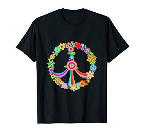 Hippie Kostüm Liebe Mann - Peace Love Shirt Hippie Kostüm 60s 70s Krawatte Hippie Hemd T-Shirt