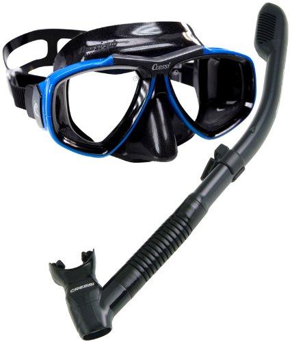 Cressi Tauchmaske Focus Maske und Dry Schnorchel, Schnorchel-Set