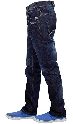 Hommes Enzo EZ349 De marque Jeans denim Dark Stone Wash