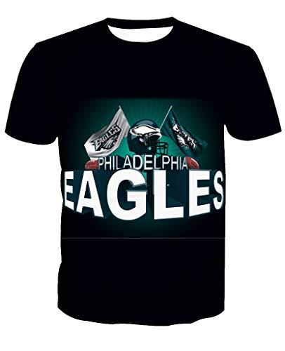 Männer 3D T-Shirt Philadelphia Eagles NFL Fußball Team Uniform Zurück Fliegender Adler Muster Digitaldruck Liebhaber Shirt(XL,Schwarz)
