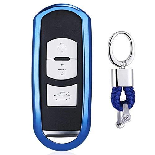 f63f56abc Azul Funda de TPU Suave para Llave + Llavero para Coche Mazda 3 5 6 CX-3  CX-5 CX-7 CX-9 MX-5 Miata 3/4 Buttons