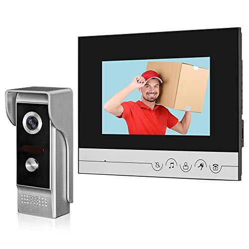 Immagine di HFeng Videocitofono da 7 pollici chiaro Sistema di videocitofono Unità campanello per Home Video Campanello per porte Telecamera Visione notturna Max a 100 metri
