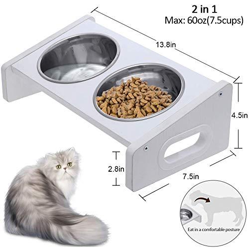 Domipet Erhöht Hundenapf katzenapf Fressnapf, 2 Edelstahl Hundeschüssel Futternapf für Katzen und Hunde mit Holzrahmen, 60 oz -