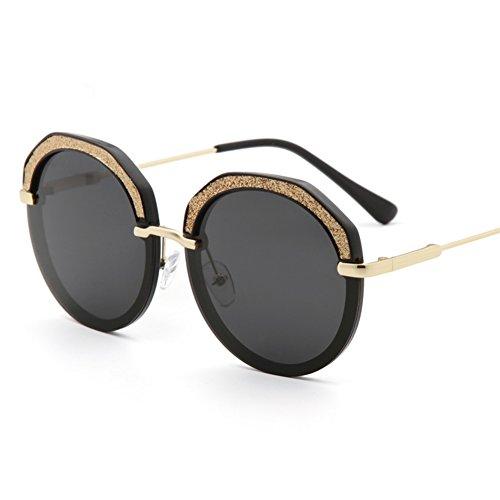 Z&HA Funkelnde Kristall Polarisierte Sonnenbrille Der Frauen Polygonale Frameless Diamantgläser, Damenzubehör Mit Glaskasten,Gray