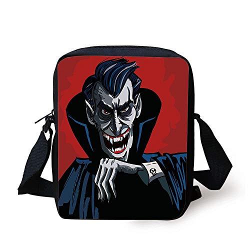 Vampire,Cartoon Cruel Old Man with Cape Sharp Teeth Evil Creepy Smile Halloween Theme,Blue Red Grey Print Kids Crossbody Messenger Bag Purse - Vampir-golf