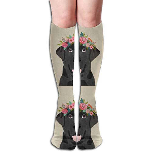 Stocking Black Labrador With Cut Lines Dog Panel, Dog, Cut And Sew Floral Multi Colorful Patterned Knee High Socks 19.6Inchs ()