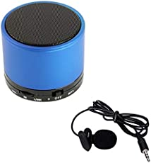 Captcha Lavalier Noise Cancelling Mini 3.5MM Jack Microphone & S10 Bluetooth Portable Speaker for Android/iOS Devices (Color may vary)
