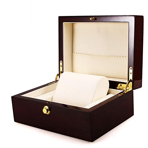 Red Light Wood Watch Storage box con serratura vernice PU luxury brand Watch display Gift Box con cuscino gioielli pacchetto seguire case