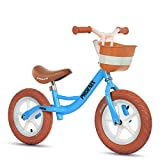 Bicicleta sin pedales Bici Bicicleta de Equilibrio especializada: Bicicleta de Empuje para niños/niñas para Deportes al Aire Libre en Interiores, Azul/Amarillo (Color : Azul)