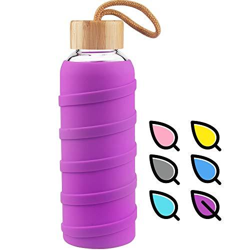 SHBRIFA Sports Glas Wasserflasche 480ml / 1000ml / 1 Liter, Glas Trinkflasche mit Silikonh¨¹lle und Bambus Deckel (1000ml Violett)