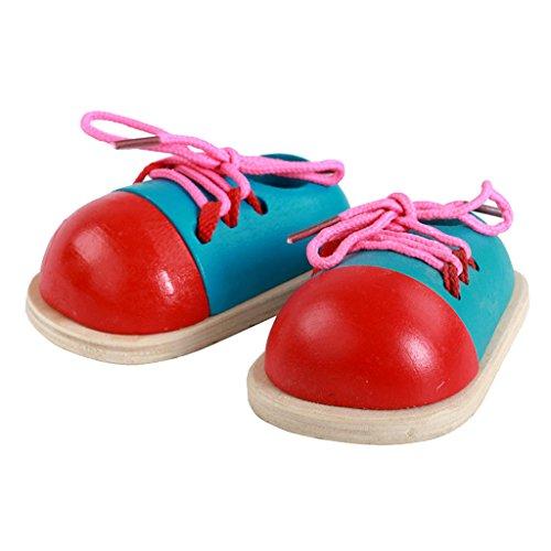 Sharplace Fädeln Schleife binden lernen Lernspiel small Foot Schuhe für Baby/Kinder