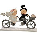 Mopec Y80 - Figura de pastel pareja de novios Pit & Pita en tandem, 24 x 17 cm