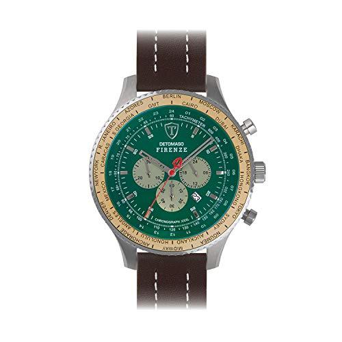 DETOMASO Firenze SUPER XXL Herren-Armbanduhr Chronograph Analog Quarz braunes Lederarmband grünes Zifferblatt DT1086-C-956
