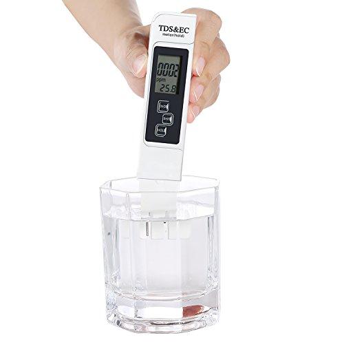 TDS Meter Digital Wasser TDS EC und Temperatur (3 in 1) Tester, ATC Funktion, 1ppm Auflösung, 2% Ablesegenauigkeit, 0-9990 ppm Messbereich für Trinkwasser, Hydrokultur, Aquarien, Pools und Spas