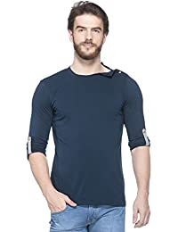 e5b2bb39 GESPO Men's Navy Blue Solids Regular Fit Cotton Round Neck Long Sleeves T  Shirt