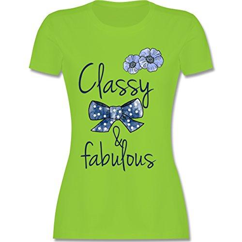 Statement Shirts - Classy and fabulous - tailliertes Premium T-Shirt mit Rundhalsausschnitt für Damen Hellgrün