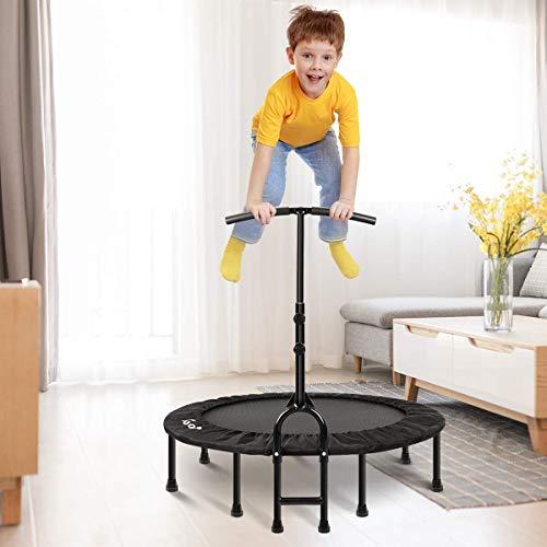 MOVTOTOP Indoor Trampolin mit Verstellbarem Griff, Faltbar Mini Fitness Trampolin für Kinder & Erwachsene, Trampolin für Zuhause- Bs120kg (40 inch)