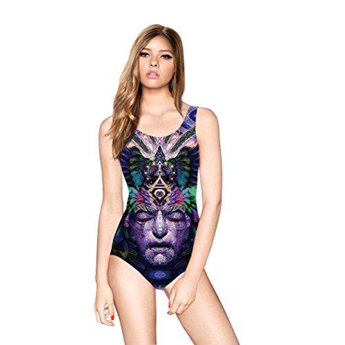 Gesicht Cartoon Zwei Kostüm (Frauen-Einteiliger Badeanzug-Menschliches Gesicht Graffiti-Druck-Rennläufer-Badebekleidungs-Sport-Schwimmen-Kostüm)