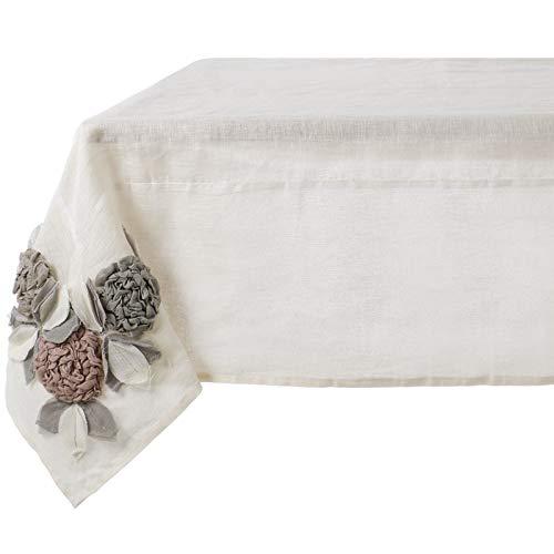 Blanc Mariclò Nappe avec Fleurs 150 x 150 cm, 100% Lin, Collection Rose Garden