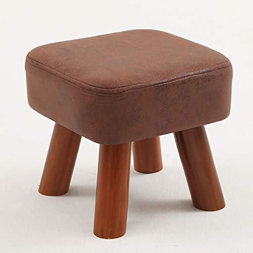 Square Ottoman Hocker Massivholz Lounge Chair Sofa Hocker Fußstütze Kleine multifunktionale Sitzfläche aus Stoff Abnehmbar und waschbar (Farbe : Braun) (Lounge Chair Ottoman)