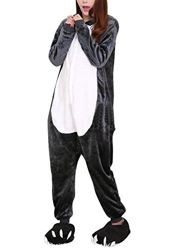 OCHENTA Femme Costume Cosplay Anime Animal Combinaison Pyjama Vetement de Nuit Flanelle Loup