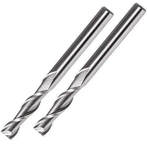 2 Stück 6mm Schaftfräser aus HSS-AL Stahl - Zweischneider Universalfräser für Metall, Kunststoff, Holz, etc (6x6x24x68mm)