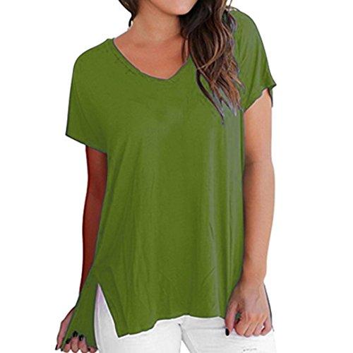 Overdose Frauen Kurzarm Frühling Sommer V-Ausschnitt T Shirt Basic Tops Damen Casual Plain Lässige Tees Hemd Bluse Fest Freizeit Oberteile(Grün,XL)
